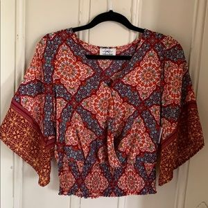 TWINE & STRING Red Print Boho Crop Top NEW Small